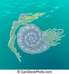 nautilus - graceful fantasy girl swimming underwater near...