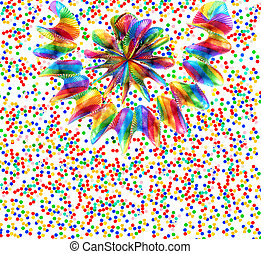 colorful garlands and confetti on white background festive...