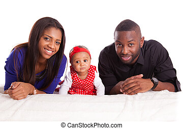 Portrait of a young african american family - Black people -...