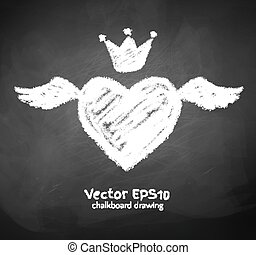 Chalk drawn heart with wing