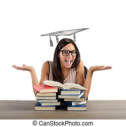 Student arrives at graduation - Student after much study...
