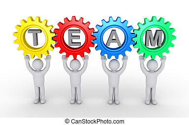People and cogwheels connected as teamwork concept