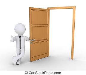 Businessman offering way through door