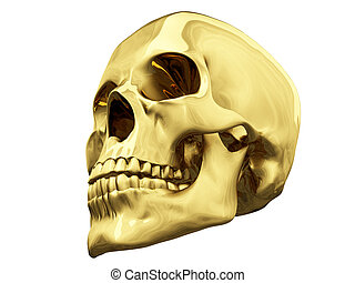 Gold skull over white - isolated gold skull over white