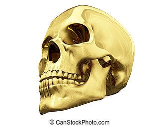 Gold skull over white - isolated gold skull over white