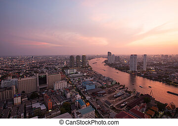 top view bangkok urban view and curve of chaophraya river...