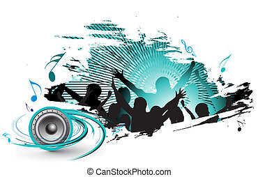 music concert - grunge silhouettes of people dancing with...