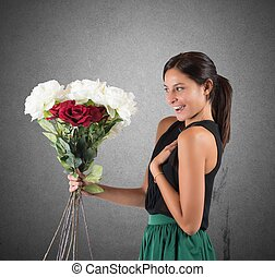 Flowers unexpected - Girl receives a gift of flowers...