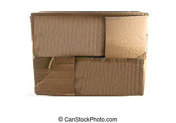 Old brown box with white background