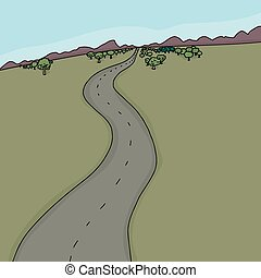 Country Road Background - Hand drawn cartoon background of...
