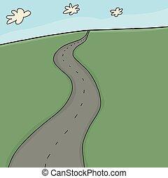 Two Lane Rural Highway - Empty two lane highway through...