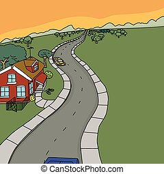 Cars Near Red House on Country Road - Cartoon rural scene of...