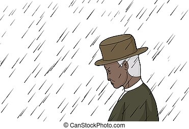 Man in Rain with Hat