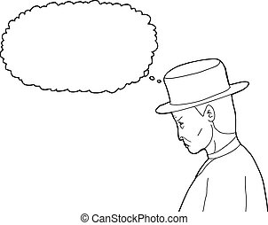 Outline of Old 1920's Man - Outline cartoon of 1920s man...