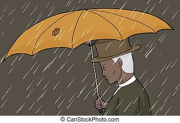 Man With Torn Umbrella in Storm