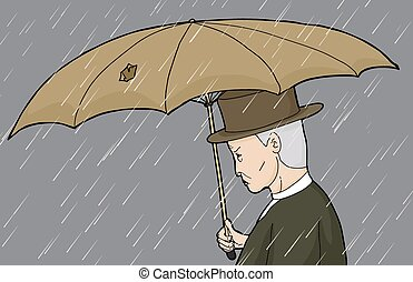 Man with Hole in Umbrella