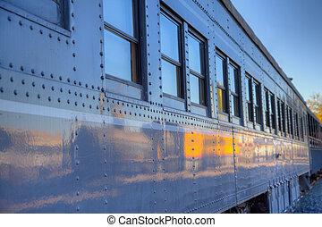 gris,  train, vieux, voiture