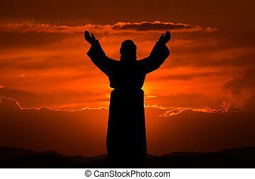 silueta, Jesus,