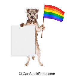 Dog Supporting Gay Rights With Blank Sign