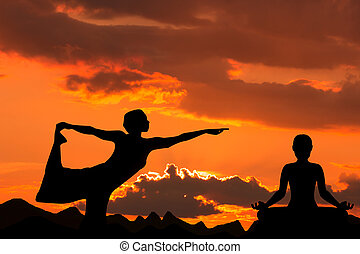 Silhouette of Woman  Yoga