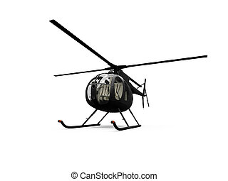 isolated helicopter view - black helicopter on white...