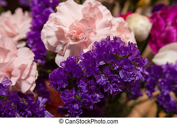 Easter flower bouquet with pink flowers and lavender