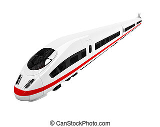 white train isolated view - isolated white train on white...