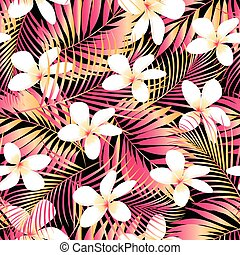 Tropical Plumeria with red and orange leaves seamless...
