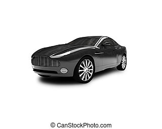 Black car isolated view - Black car on a white background