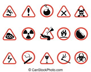 danger icons set, Triangular and circle Warning Hazard Signs