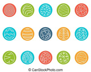 easter egg round button icons set - isolated easter egg...