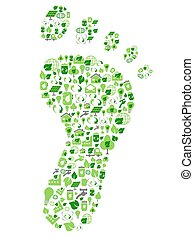 green eco friendly footprint filled with ecology icons -...