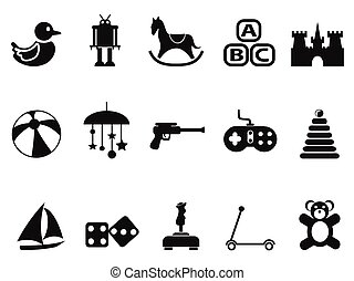 black toy icons set