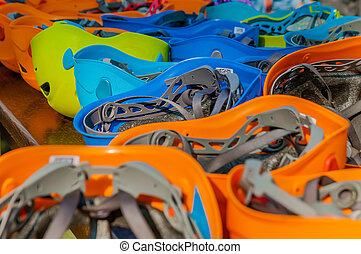 Saftey helmets in different colors into an adventure park -...