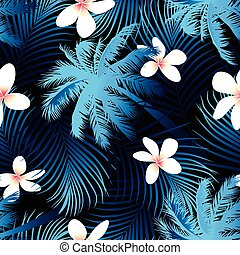 Tropical palm seamless pattern with black background