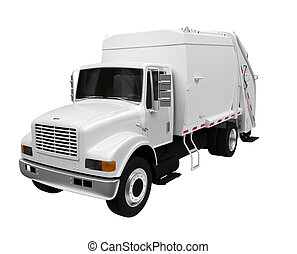 trash truck over white - isolated white trash truck on a...