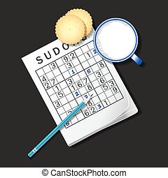 illustration of Sudoku game, mug of milk and cracker - top...