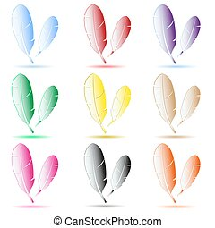 various color feathers symbols with shadow eps10
