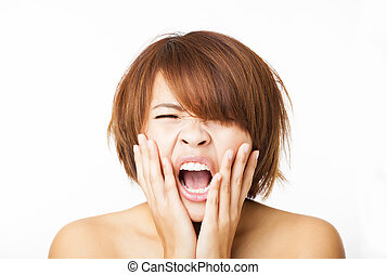 Closeup stressed young woman and yelling screaming