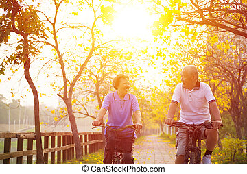 senior couple on cycle ride in the park