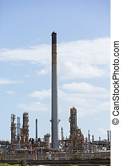 oil refinery and chimney