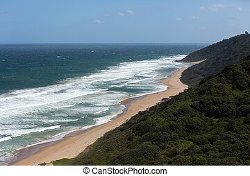 Durban south beach - overhead view of Durban south beach