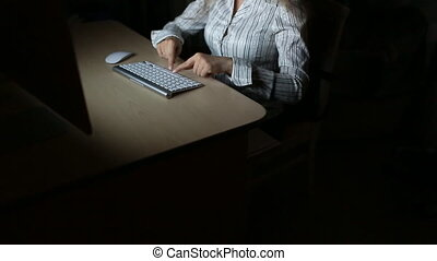 Lady working late Surfing the internet on night