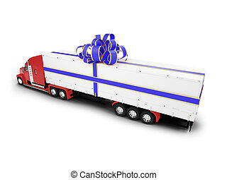 Present truck isolated red-blue back view - isolated present...