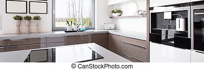 Wooden kitchen cabinet in bright modern kitchen