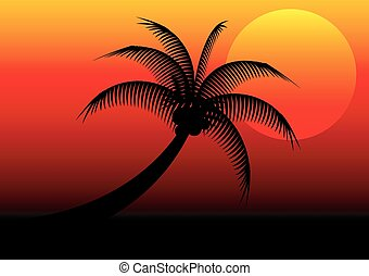 sunset and coconut tree vector