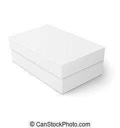 White cardboard shoebox template. - Blank paper or cardboard...