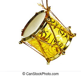 Christmas drum - Drum Christmas decoration, isolated on a...