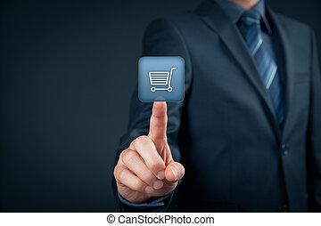 E-shop - Businessman click on virtual e-shop button with...
