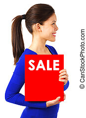 Woman with sale sign